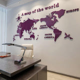 5 Colors 3D Acrylic World Map Wall Sticker For Office Room Living Room Sofa Background Decoration Map of World Wall Stickers - one46.com.au