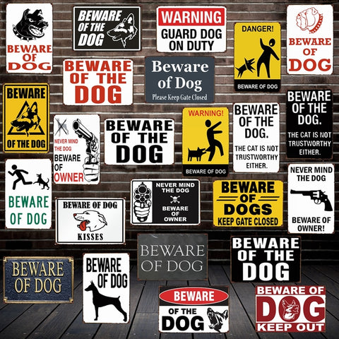 [ Mike86 ] Beware of the DOG GUARD ON DUTY WARNING DANGER Metal Tin Sign Wall Plaque Poster Painting Christmas Decor Art FG-519 - one46.com.au