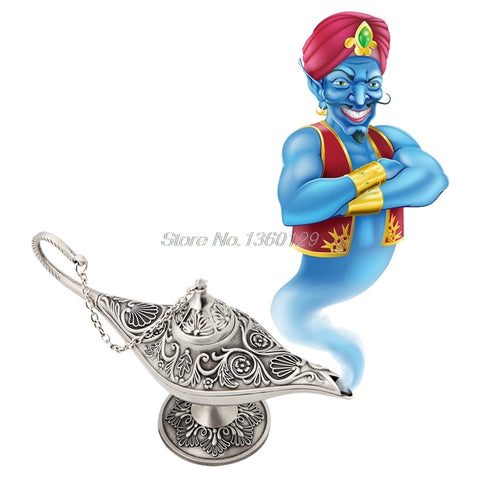 Silvery Legend Aladdin Magic Genie Light Wishing Oil Collectable Classic Lamp Nov18 Dropship - one46.com.au