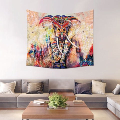 Morigins Custom Tapestry Boho Home Decor Mandala Animales Tapestries Elephant Pattern Wall Blanket Fashion Psychedelic Tapestry - one46.com.au