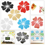5Pcs Acrylic Mirror Wall Stickers DIY Home Art Stickers for Living Room TV Background Decoration Hibiscus Flower Decals - one46.com.au