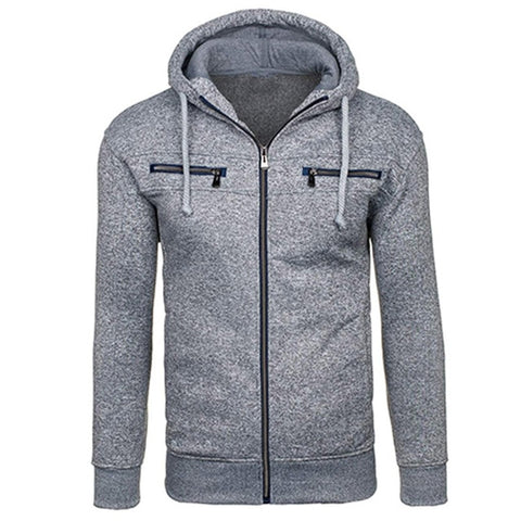 TANGNEST Autumn Men Hoodie 2019 New Classic Zipper Hooded Men's Casual Sweatershirt Spot Colors Asian Size 2XL MWW1485 - one46.com.au
