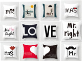 ZENGIA Love Couple Pillow Case Letter Mr and Mrs Pillow Cover Mr and Mrs Cushion Covers for Home Wedding Decoration Valentine - one46.com.au