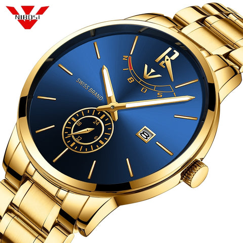 NIBOSI Simple Gold Watch Men Relojes 2018 Quartz Clock Military Sport Male Full Steel Business Gift Men Watch Relogio Masculino - one46.com.au