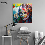 Wall Art Batman Heath Ledger Joker Original Watercolor Canvas Painting Modern Poster Print Pictures for Living Room Home Decor - one46.com.au