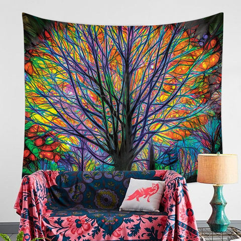 Colorful Tree Tapestry Wall Hanging Psychedelic Forest Birds Tapestry Bohemian Mandala Hippie Tapestry  Bedroom Living Room Dorm - one46.com.au