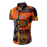 Mens Clothing Men Shirts Dress Short Sleeve Slim Fit Loose Cotton Shirt Casual Button Down Hawaiian Beach Camisas Hombre Summer - one46.com.au