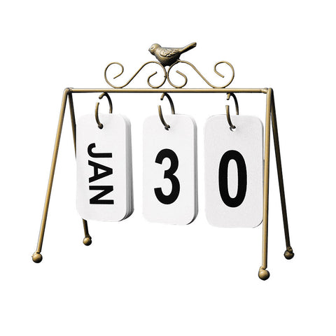 Nordic DIY Iron Bird Page Flip Calendar Decoration Crafts Creative Wooden Perpetual Calendar Home Decoration Accessories Modern