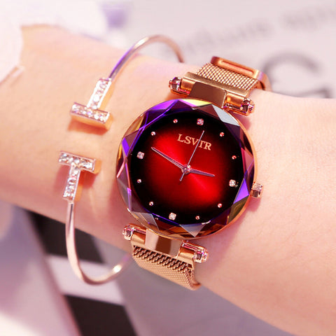 Luxury Rose Gold Women Watches Fashion Diamond Ladies Starry Sky Magnet Watch Waterproof Female Wristwatch For Gift Clock 2019 - one46.com.au