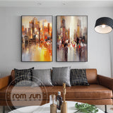 Abstract City Light In Night Poster n Print Modern City Landscape Painting For Living Room Aisle Fashion Bar Pub Wall Art Decor - one46.com.au
