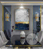 Abstract Gold Foil White Block Canvas Painting Fahsion Poster Print Big Wall Art Picture For Living Room Aisle Modern Home Decor - one46.com.au