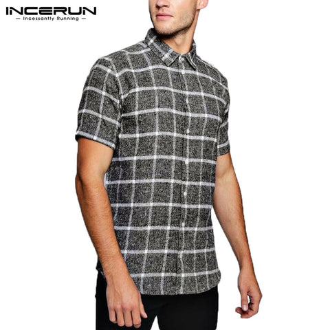 INCERUN NEW Men Tops Plaid Shirts Beach Short Sleeve Social Shirt Dress Fashion Clothes Loose Fit Tropical Vacation Camisa Tee - one46.com.au