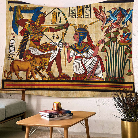 Egypt Egyptian Tapestry Wall Hanging African Anubis Large Traditional Brown Bedspread Cloth Tapestries Headboard Backdrop Decor - one46.com.au