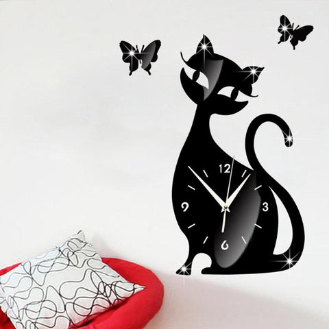 Acrylic Mirror Cute Cat Clock Black Wall Clock Sticker Modern Design Home Art Decor Watch Self-adhesive Christmas Gift - one46.com.au