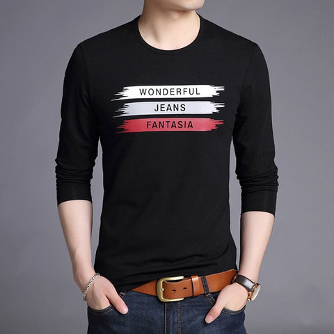 2019 Mercerized Cotton New Fashion Brand T Shirts Print Street Wear Tops Top Grade Korean Long Sleeve  T-Shirt For Men Clothes - one46.com.au