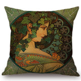 Alphonse Maria Mucha Painting Cushion Cover Woman Pattern Pillow Case Linen 45*45 CM Throw Pillow Cover Decorative For Home - one46.com.au