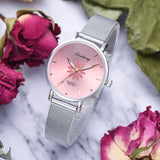 Women's Wristwatches Luxury Silver Popular Pink Dial Flowers Metal Ladies Bracelet Quartz Clock Fashion Wrist Watch 2019 Top - one46.com.au