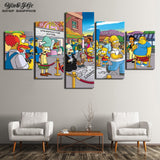 Living Room Wall Art Frameworks 5 Pieces Simpsons Modular Anime Posters Pictures Modern Home Decor HD Printed Canvas Painting - one46.com.au