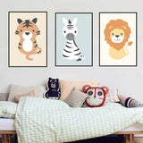 Woodland Animal Lion Giraffe Posters Nursery Prints Wall Art Canvas Painting Nordic Picture for Kids Room Home Decoration - one46.com.au
