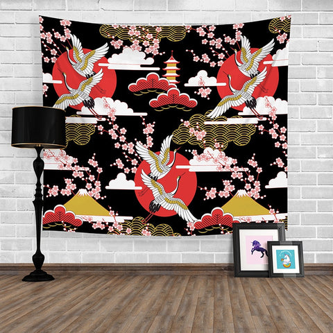 Japanese Style Tapestry Koi Printed Wall Art Tapestry Home Decorative Tapete Bedroom Door Curtain Blankets Table Cloth Yoga Mat - one46.com.au