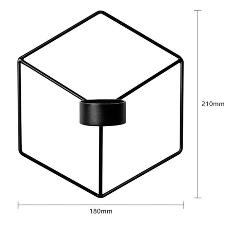 3D Geometric Candlestick Metal Wall Candle Holder Sconce Matching Small Tealight Home Ornaments Wedding Christmas Decoration - one46.com.au