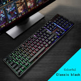 104 Key Suspension Cap Rainbow RGB Backlit Waterproof Mechanical Feel USB Wired Gaming Keyboard for Computer PC Laptop for DOTA2 - one46.com.au