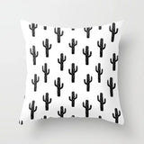 Nordic Black White Pillow Case Set Lash Bee Cactus Bird Letter Home Decorative Rectangle Geometric Sofa Cushion Cover 45x45cm - one46.com.au
