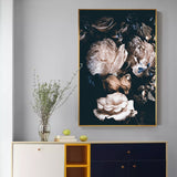 Abstract Romantic Pink Rose In Darkness Canvas Painting Flower Poster Print For Living Room Aisle Entrance Modern Wall Art Decor - one46.com.au