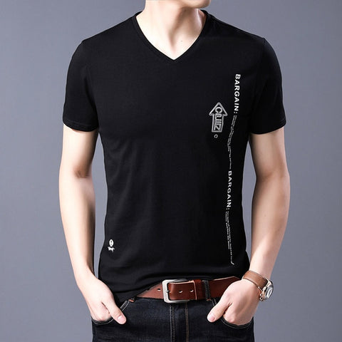 2019 New Fashion Brand T Shirts Mens V Neck Pattern Summer Tops  Street Style Trends Cotton Short Sleeve Tshirts Men Clothing - one46.com.au