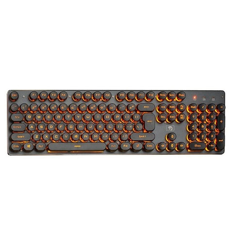Backlit Gaming Keyboard Steampunk Retro Round Keycap USB Wired Glowing Metal Panel Computer Game Keyboard for Laptop PC - one46.com.au