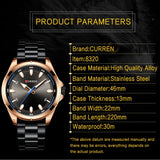 Gray Watches Mens Quartz Business Wristwatch Fashion Clock Classic Steel Band CURREN Watch - one46.com.au