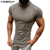 Masculina Muscle Tee Men Tshirts Plain Striped Summer Clothes High Neck T Shirts Short Sleeve Slim Hombre Joggers 5XL Streetwear - one46.com.au
