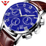 NIBOSI Mens Watches Militray Sport Quartz Men Watch Leather Waterproof Male Wristwatches Relogio Masculino Relojes Para Hombre - one46.com.au
