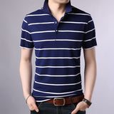 2019 New Fashion Brand Summer Polo Shirts Mens Striped With Short Sleeve Slim Fit Top Grade Cotton Polos Casual Mens Clothing - one46.com.au