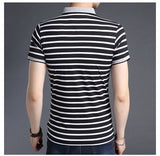 2019 New Fashion Brands Shirts Polo Men's Striped Summer Slim Fit With Short Sleeve Top Grade Boys Polos Casual Men's Clothing - one46.com.au