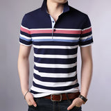 2019 New Fashion Brand Clothing Polo Shirt Mens Striped Summer Short Sleeve Slim Fit Top Grade Boys Polos  Casual Men's Clothing - one46.com.au
