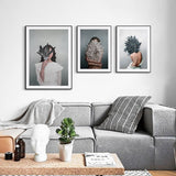 Women Portrait Posters Prints With Flowers Feather Oil Painting Wall Art Canvas Pictures Home Living Room Modern Decoration - one46.com.au
