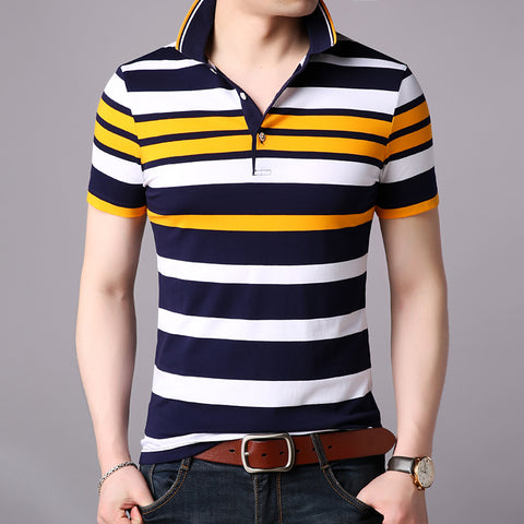 2019 New Fashions Brand Summer Polo Shirt Mens Top Grade Striped Short Sleeve Slim Fit Top Grade Poloshirt Casual Mens Clothing - one46.com.au