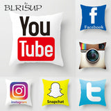 BLRISUP Social Media Pillow Case Cover Facebook/Twitter/YouTube/Snapchat/Inst Logo Polyester Cushion Cover Home Decor Pillowcase - one46.com.au