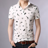 2019 New Fashion Brand Polo Shirt Men's Pattern Summer Short Sleeve Slim Fit Mercerized Cotton Poloshirt Casual Mens Clothing - one46.com.au