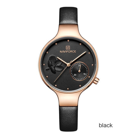 NAVIFORCE Women Watches Top Luxury Brand Ladies Quartz Watches Genuine Leather Watchband Casual Wrist Watches Gift For Girls - one46.com.au