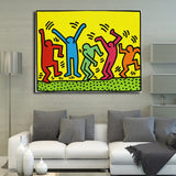 Keith Haring Pop Art Canvas Print Cartoon Oil Painting For Living Room,Bedroon,Canvas Art Print Abstract Wall Painting - one46.com.au