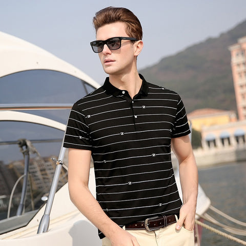 2019 New Fashion Brand Polo Shirts Men Striped Print Summer Short Sleeve Slim Fit Top Grade Boys Poloshirt Casual Men Clothing - one46.com.au