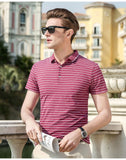 2019 New Fashion Brands Summer Polo Shirt Mens Top Grade Short Sleeve Slim Fit Striped Streetwear Poloshirt Casual Men Clothing - one46.com.au