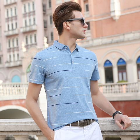 2019 New Fashion Brand Designer Polo Shirts Men's Top Grade Summer Short Sleeve Slim Fit Striped Poloshirt Casual Mens Clothing - one46.com.au