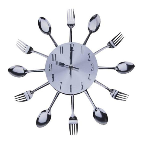 Modern Design Wall Clock Sliver Cutlery Kitchen Wall Clock Spoon Fork Living Room Home Decoration Mirror Clock - one46.com.au