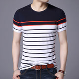 2019 New Fashion Brand T Shirts For Men O Neck Striped Summer Trends Street Wear Tops Korean Short Sleeve Tshirts Men Clothes - one46.com.au