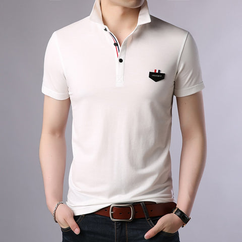 2019 New Fashion Brand Clothes Polo Shirts Men Solid Color Summer Slim Fit Short Sleeve Mercerized Cotton boy Casual Men Clothes - one46.com.au