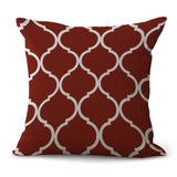 "Hot Red Gray Geometric Print 18"" Cotton Linen Sofa Decorative Throw Cushion Cover Home Decor Mediterranean Style Pillow Case - one46.com.au"