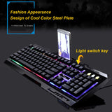 G700 USB Wired Mechanical feeling Keyboard led Colorful Backlight Gaming Keyboard For PC Computer Gamer with phone stand - one46.com.au
